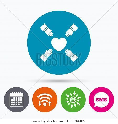 Wifi, Sms and calendar icons. Hands reach for heart sign icon. Save life symbol. Go to web globe.