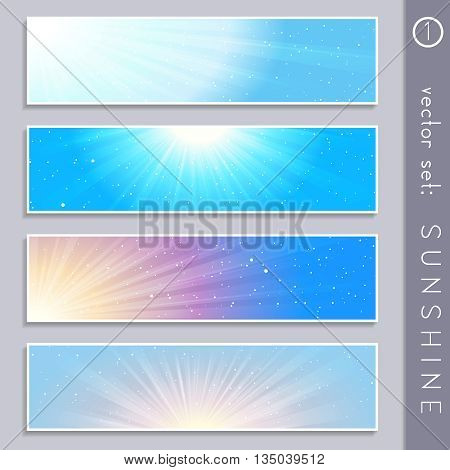 Set of four elegant sky and sunlight banners in cool tones. Graphics are grouped and in several layers for easy editing. The file can be scaled to any size.
