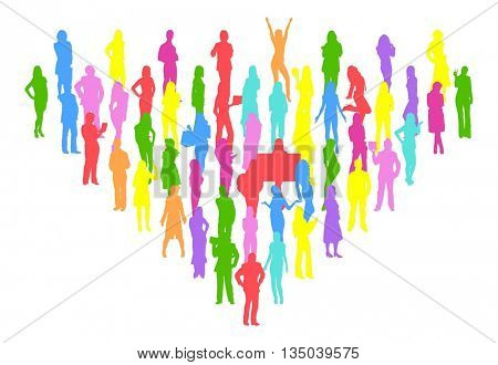 Many People Vector Silhouettes Isolated