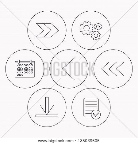 Arrows icons. Download, left and right direction linear signs. Next, back arrows flat line icons. Check file, calendar and cogwheel icons. Vector
