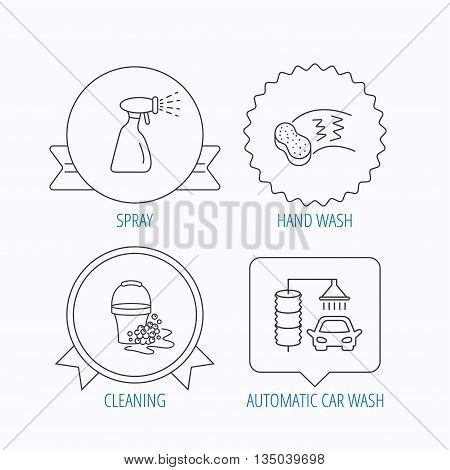 Car wash icons. Automatic cleaning station linear signs. Bucket with foam bubbles, sponge and spray flat line icons. Award medal, star label and speech bubble designs. Vector