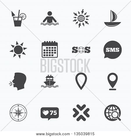 Calendar, go to web and like counter. Cruise trip, ship and yacht icons. Travel, cocktail and sun signs. Sos, windrose compass and swimming symbols. Sms speech bubble, talk symbols.