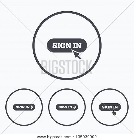 Sign in icons. Login with arrow, hand pointer symbols. Website or App navigation signs. Icons in circles.