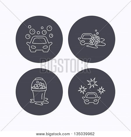 Car wash icons. Automatic cleaning station linear signs. Wet cleaning and foam bucket flat line icons. Flat icons in circle buttons on white background. Vector
