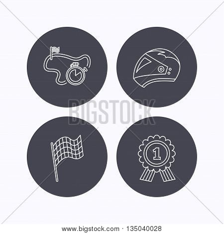 Race flag, motorcycle helmet and award medal icons. Start or finish flag linear sign. Flat icons in circle buttons on white background. Vector