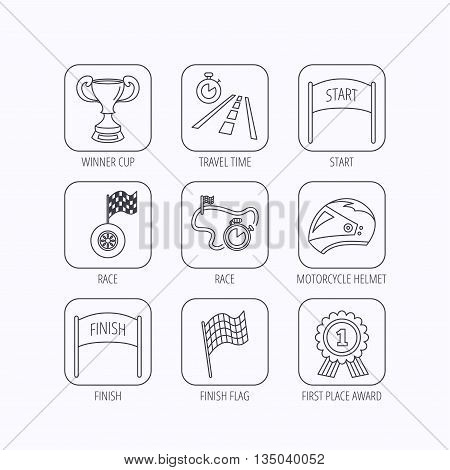 Winner cup and award icons. Race flag, motorcycle helmet and timer linear signs. Road travel, finish and start flat line icons. Flat linear icons in squares on white background. Vector
