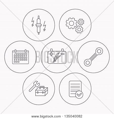Accumulator, spanner tool and car service icons. Repair toolbox, spark plug linear signs. Check file, calendar and cogwheel icons. Vector
