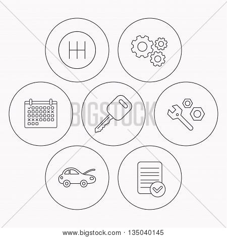 Car key, repair tools and manual gearbox icons. Car repair, transmission linear signs. Check file, calendar and cogwheel icons. Vector