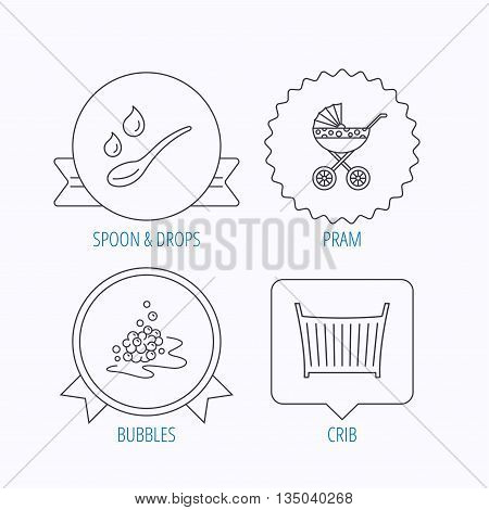 Pram carriage, spoon and drops icons. Bubbles, crib bed linear signs. Award medal, star label and speech bubble designs. Vector