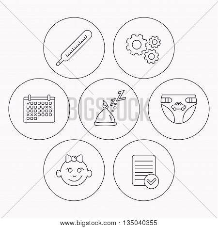 Thermometer, diapers and sleep hat icons. Baby girl linear sign. Check file, calendar and cogwheel icons. Vector