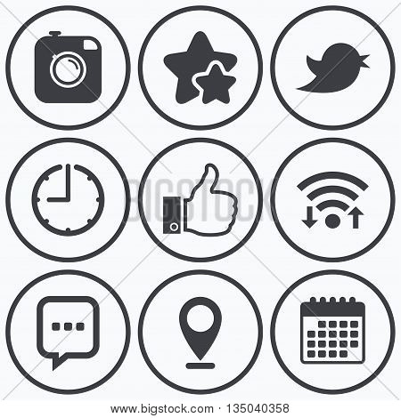 Clock, wifi and stars icons. Hipster photo camera icon. Like and Chat speech bubble sign. Hand thumb up. Bird symbol. Calendar symbol.
