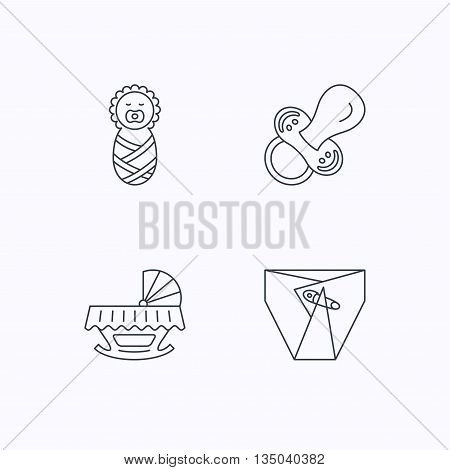 Pacifier, newborn and diapers icons. Cradle bed linear sign. Flat linear icons on white background. Vector