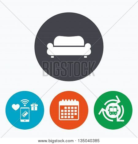 Comfortable sofa sign icon. Modern couch furniture symbol. Mobile payments, calendar and wifi icons. Bus shuttle.