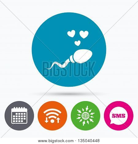 Wifi, Sms and calendar icons. Sperm sign icon. Fertilization or insemination symbol. With heart. Go to web globe.