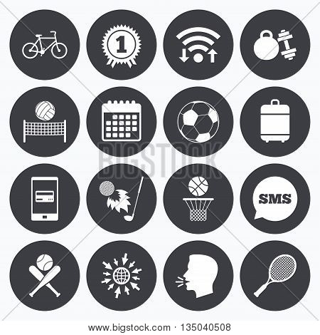 Wifi, calendar and mobile payments. Sport games, fitness icons. Football, basketball and tennis signs. Golf, bike and winner medal symbols. Sms speech bubble, go to web symbols.