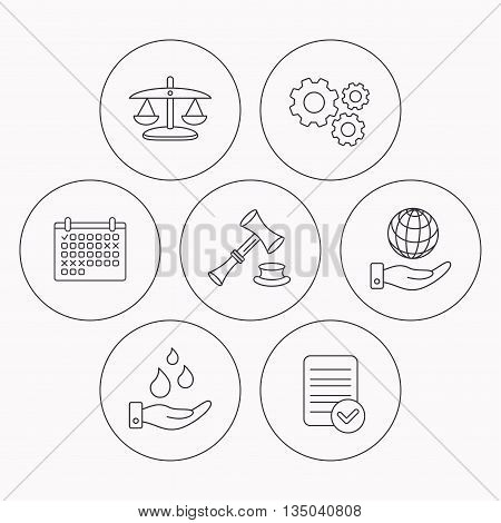 Save nature, auction and scales of justice icons. Save planet linear sign. Check file, calendar and cogwheel icons. Vector