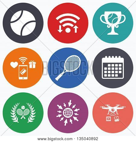Wifi, mobile payments and drones icons. Tennis ball and rackets icons. Winner cup sign. Sport laurel wreath winner award symbol. Calendar symbol.