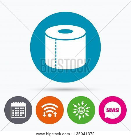 Wifi, Sms and calendar icons. Toilet paper sign icon. WC roll symbol. Go to web globe.