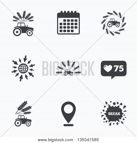 Calendar, like counter and go to web icons. Tractor icons. Wreath of Wheat corn signs. Agricultural industry transport symbols. Location pointer.