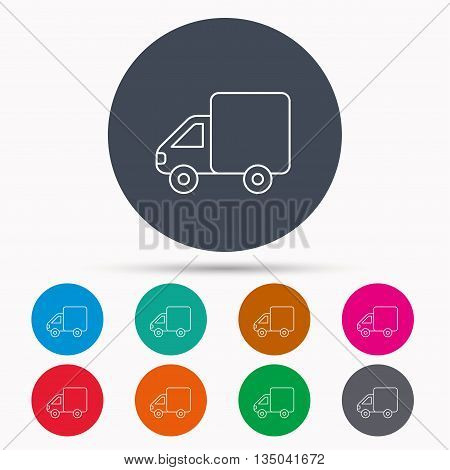 Delivery truck icon. Transportation car sign. Logistic service symbol. Icons in colour circle buttons. Vector