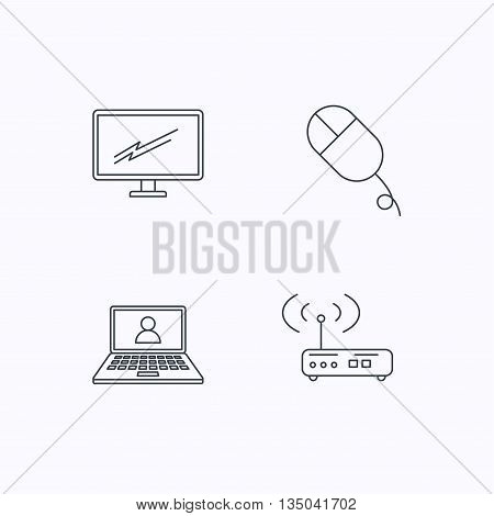 Wi-fi router, pc mouse and monitor tv icons. Webinar linear sign. Flat linear icons on white background. Vector
