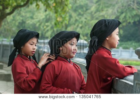 PHU THO, Vietnam, March 10, 2016 girls team. wearing traditional costumes who performed folk song Called, Xoan singing, intangible heritage of humanity