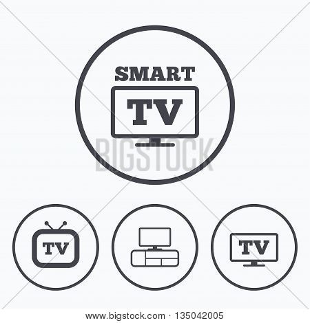 Smart TV mode icon. Widescreen symbol. Retro television and TV table signs. Icons in circles.