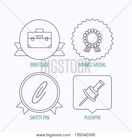 Award medal, pushpin and briefcase icons. Safety pin linear sign. Award medal, star label and speech bubble designs. Vector