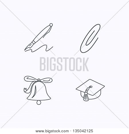 Graduation cap, pen and bell icons. Safety pin linear signs. Flat linear icons on white background. Vector