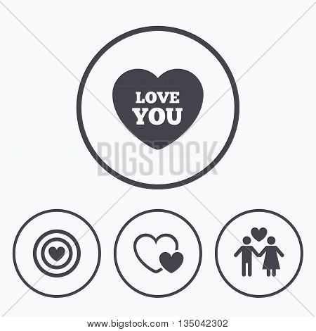 Valentine day love icons. Target aim with heart symbol. Couple lovers sign. Icons in circles.