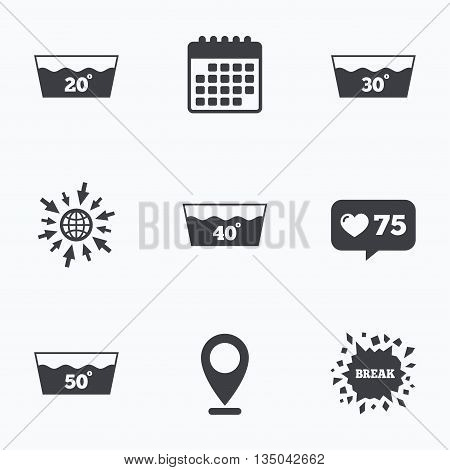 Calendar, like counter and go to web icons. Wash icons. Machine washable at 20, 30, 40 and 50 degrees symbols. Laundry washhouse signs. Location pointer.