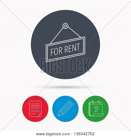 For rent icon. Advertising banner tag sign. Calendar, pencil or edit and document file signs. Vector
