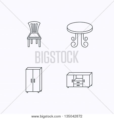 Chair, table and cupboard icons. Chest of drawers linear sign. Flat linear icons on white background. Vector