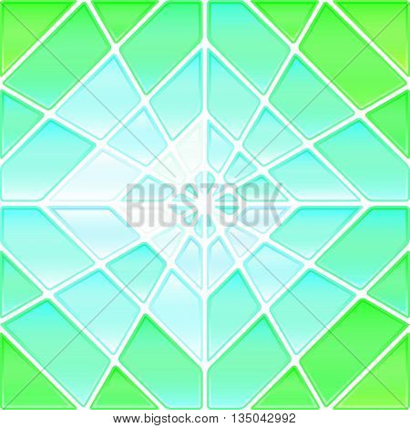 abstract vector stained-glass mosaic background - green and blue rhombus