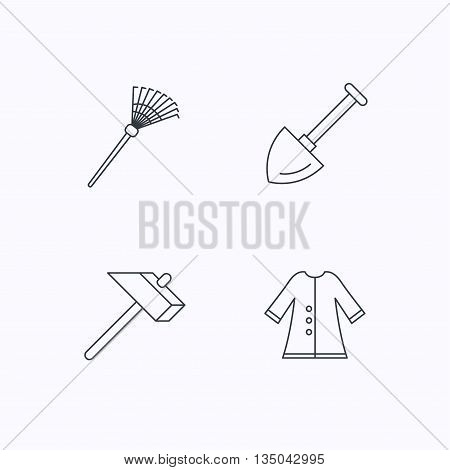 Shovel, hammer and cloak icons. Rake linear sign. Flat linear icons on white background. Vector