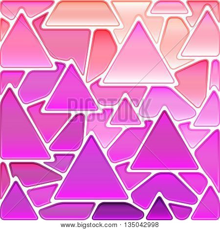 abstract vector stained-glass mosaic background - purple and pink triangles
