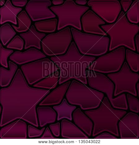 abstract vector stained-glass mosaic background - dark purple stars