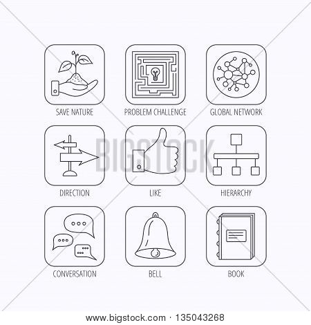 Global network, like and conversation icons. Book, bell and direction arrows linear signs. Save nature, maze and hierarchy icons. Flat linear icons in squares on white background. Vector