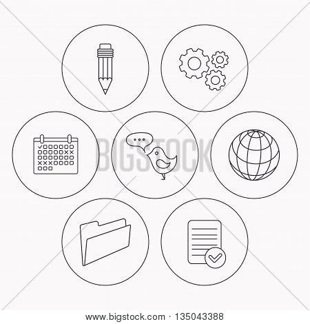 Pencil, message and world globe icons. Folder linear sign. Check file, calendar and cogwheel icons. Vector