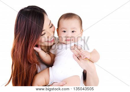 Beautiful asian woman carried her six month old baby boy