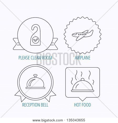Hot food, reception bell and clean room icons. Airplane linear sign. Award medal, star label and speech bubble designs. Vector
