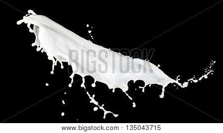 milk splash isolated on black background
