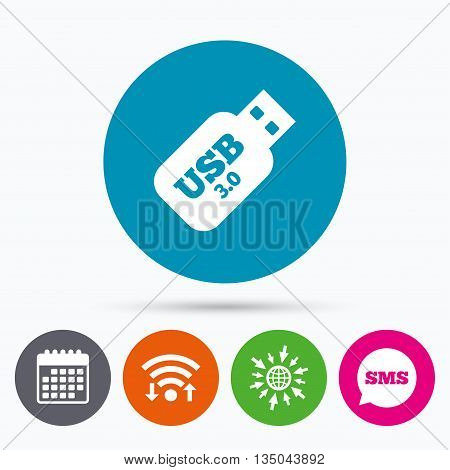 Wifi, Sms and calendar icons. Usb 3.0 Stick sign icon. Usb flash drive button. Go to web globe.