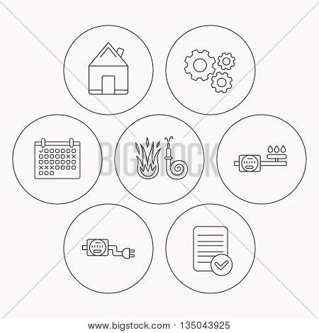 Real estate, fire hose and gas counter icons. Electricity counter linear sign. Check file, calendar and cogwheel icons. Vector