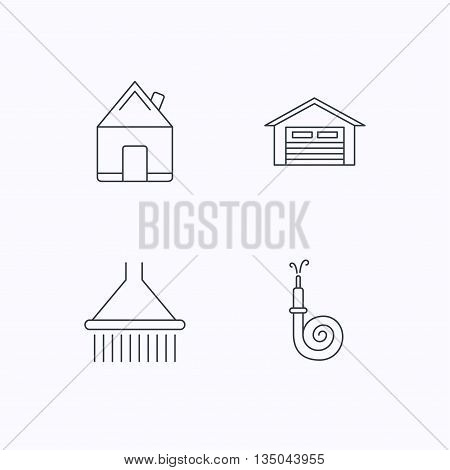 Real estate, garage and shower icons. Fire hose linear sign. Flat linear icons on white background. Vector