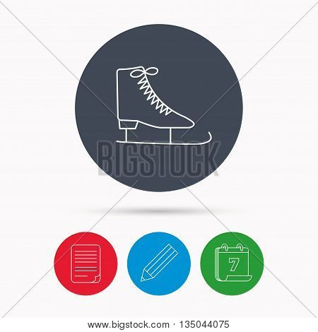 Ice skates icon. Figure skating equipment sign. Professional winter sport symbol. Calendar, pencil or edit and document file signs. Vector