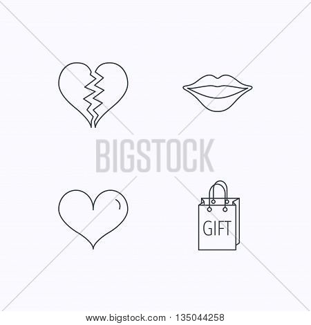 Love heart, kiss lips and gift icons. Broken heart linear sign. Flat linear icons on white background. Vector