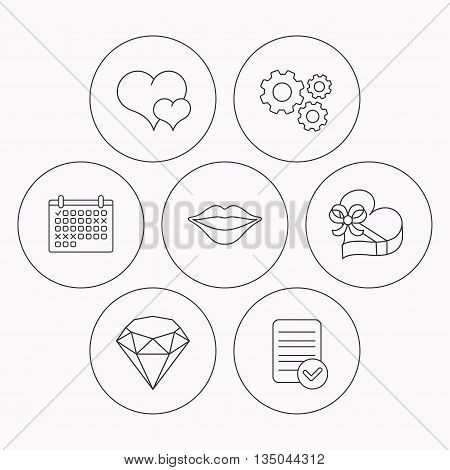 Love heart, brilliant and gift box icons. Kiss lips linear sign. Check file, calendar and cogwheel icons. Vector