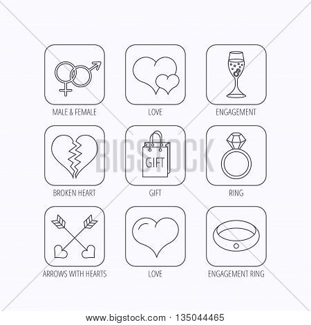 Love heart, gift box and wedding ring icons. Broken heart and engagement linear signs. Valentine amour arrows, brilliant flat line icons. Flat linear icons in squares on white background. Vector