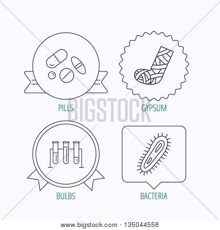 Broken foot, bacteria and medical pills icons. Lab bulbs linear sign. Award medal, star label and speech bubble designs. Vector